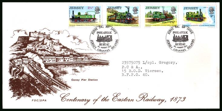 Jersey Railway History - 1st Series<br/>on an official typed addressed illustrated First Day Cover