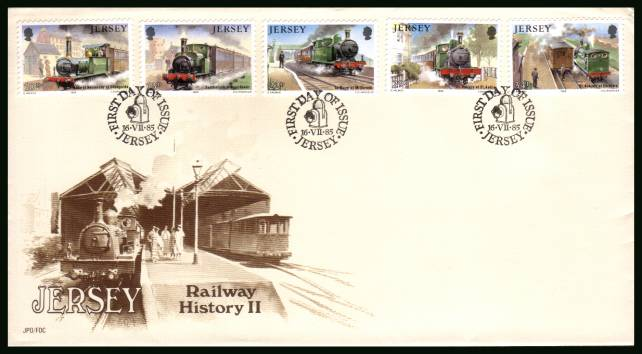 Jersey Railway History - 2nd Series<br/>on an official unaddressed illustrated First Day Cover