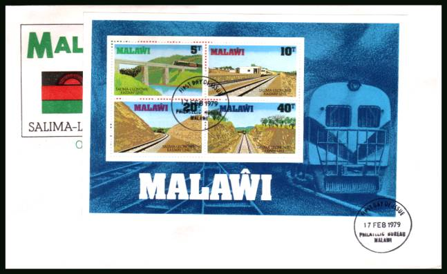 Opening of Salima-Lilongwe Railway minisheet<br/>on official First Day Cover