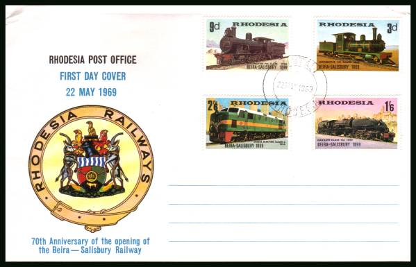 Opening of Beira - Salisbury Railway<br/>on an unaddressed First Day Cover.
