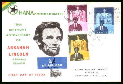 150th Birth Anniversary of Abraham Lincoln<br/>on an printed address REGISTERED (label on back) First Day Cover.