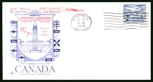 The 8c on 7c Stucharge single <br/>on an  unaddressed First Day Cover
