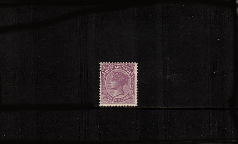 WESTERN AUSTRALIA - 10/- Deep Mauve.<br>A lovely fine and fresh well centered single with some offset on back of deep mauve cause in production with much original gum.<br/>SG Cat �0 