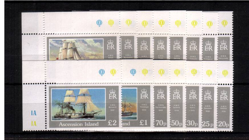 Ships - A superb unmounted mint set of fifteen all from the NW corner of the sheet.
