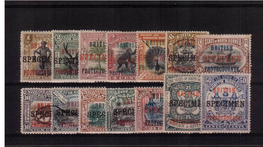 The ''BRITISH PROTECTORATE'' overprint set of fourteen also overprinted ''SPECIMEN'' all lightly mounted mint.