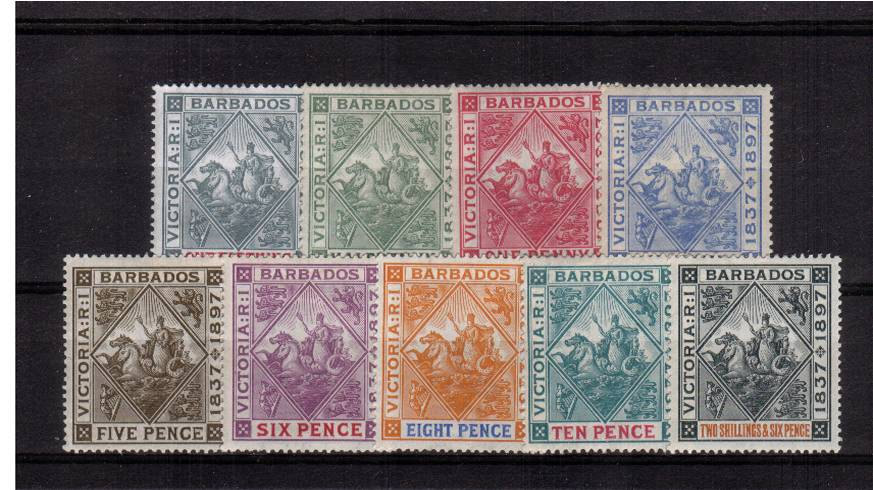 Diamond Jubilee set of nine superb very lightly mounted mint. <br/>A lovely bright and fresh set in way above average condition.