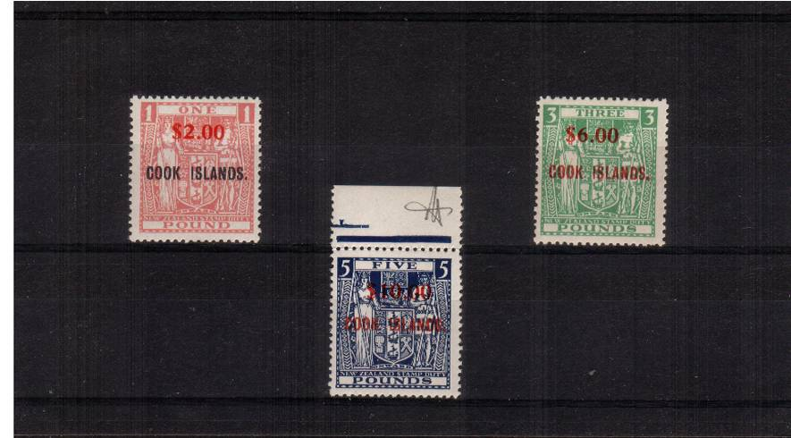 The Decimal Currency overprints on New Zealand ''Arms'' High Values set of three superb unmounted mint. The $10 on �is marginal and shows WATERMARK INVERTED. Rare set. 