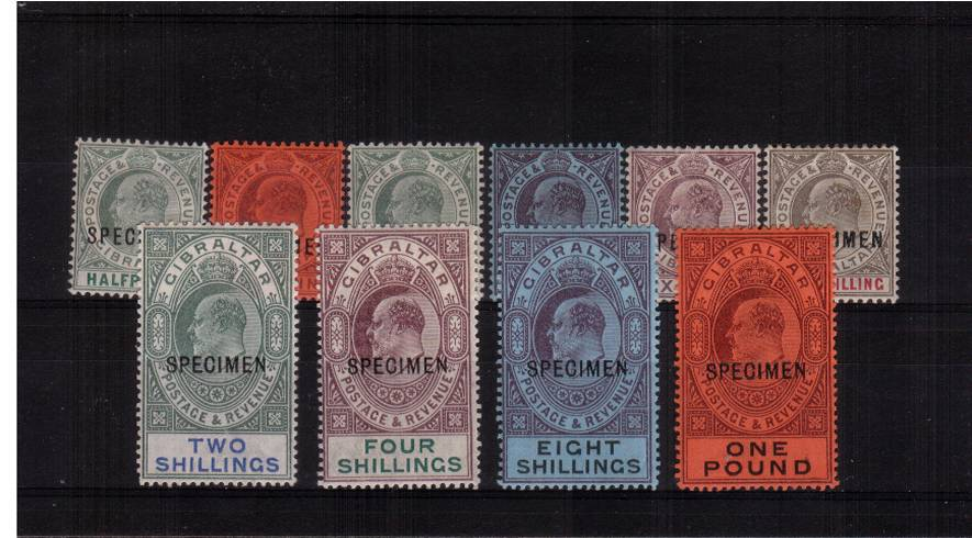 The complete Edward 7th set of ten lightly mounted mint overprinted ''SPECIMEN''<br/>SG Cat £550 
