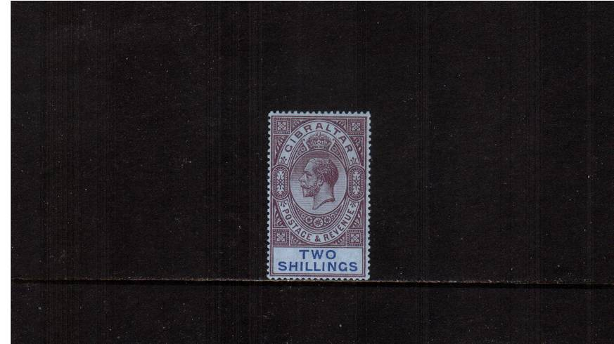 2/- Dull Purple and Blue on Blue