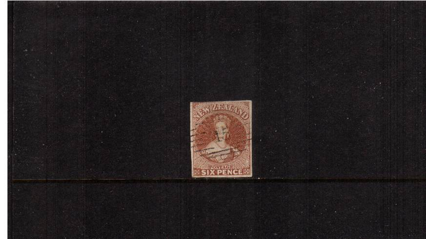 6d Brown - No Watermark - Imperforate<br/>A truly stunning four margined stamp crisply cancelled with a number ''15''. A little gem!   SG Cat £300