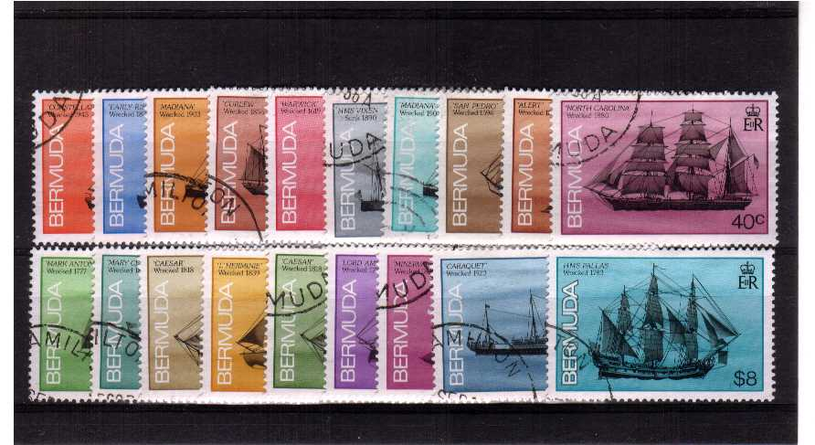Ships Wrecked on Bermuda<br>A superb fine used set of nineteen.<br><b>ZJZ</b>