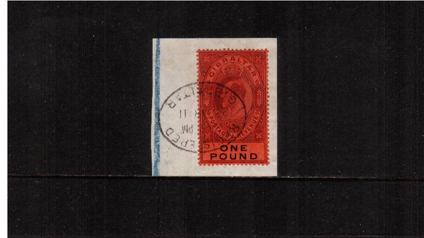 £1 Deep Purple and Black on Red - Watermark Multiple Crown CA<br/>A stunning superb used stamp tied to small piece with a GIBRALTAR oval REGISTERED cancel clearly dated 23 MR 11. Gem! Superb!