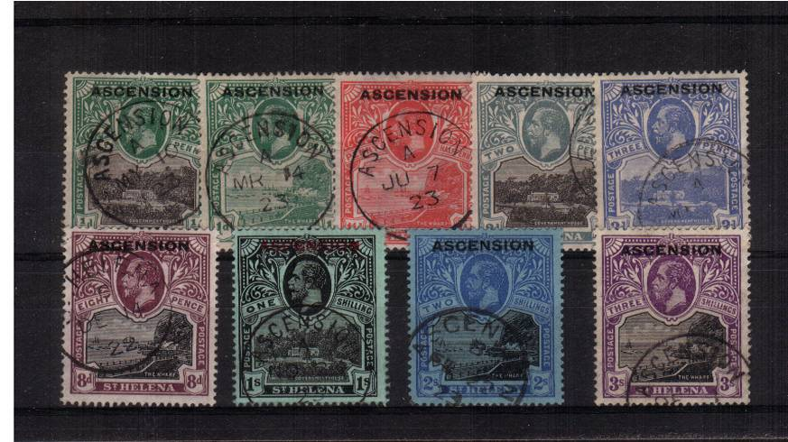 The ''ASCENSION'' overprinted set of nine<br/>superb fine used each stamp with a selected CDS. The 8d has a ST HELENA cancel.  SG Cat �5
