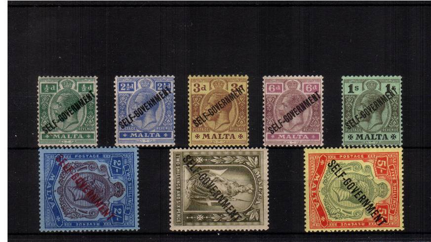 The ''SELF GOVERNMENT'' on Multiple Crown complete set of eight lightly mounted mint. SG Cat �0