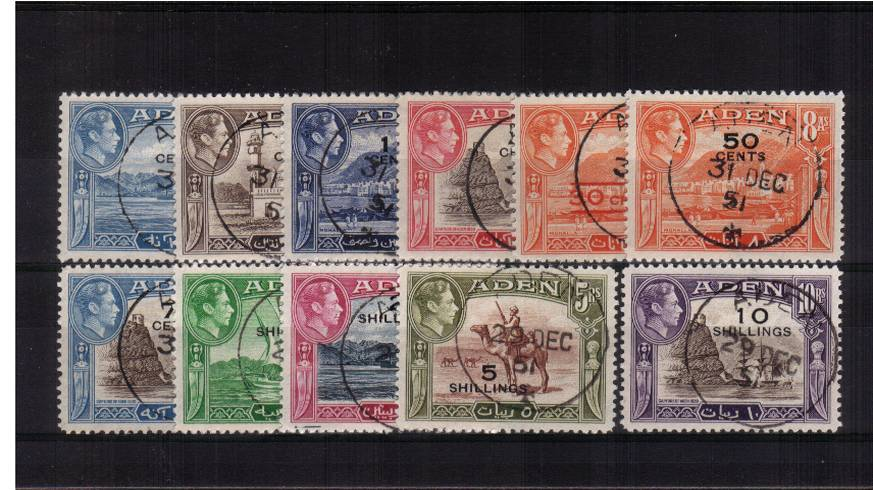 The surcharged set of eleven with each stamp cancelled with a ''socked on the nose'' ADEN CDS. An unusual CTO set!