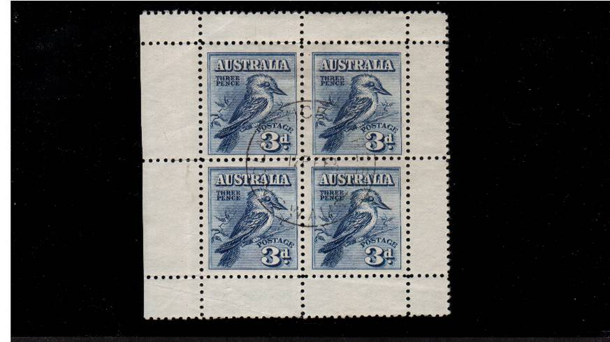 The famous 3d Blue Kookaburra minisheet<br/>A superb fine used minisheet cancelled with a light central CDS. SG Cat £200