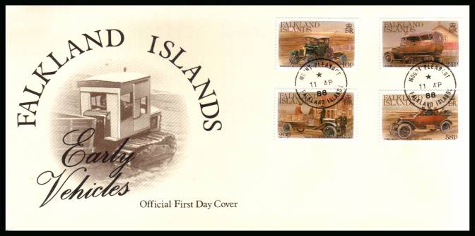 Early Vehicls set of four<br/>on a MOUNT PLEASANT steel CDS  cancelled unaddressed official full colour First Day Cover