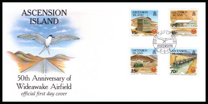 50th Anniversary of Wideawake Airfield set of four on an unaddressed Official First Day Cover