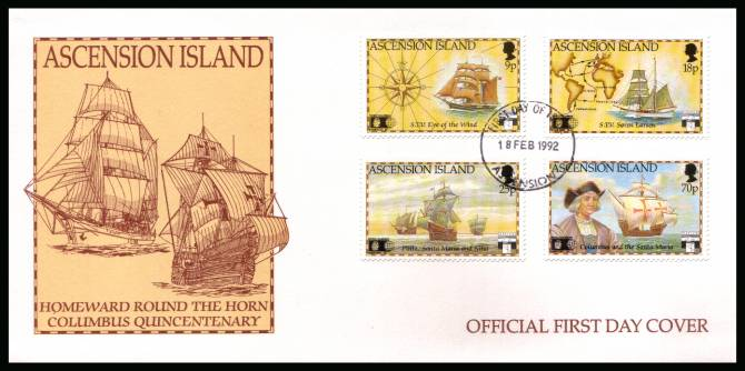 Discovery of America by Columbus set of four on an unaddressed Official First Day Cover