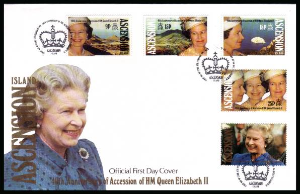 40th Anniversary of Queen's Accession set of five on an unaddressed Official First Day Cover