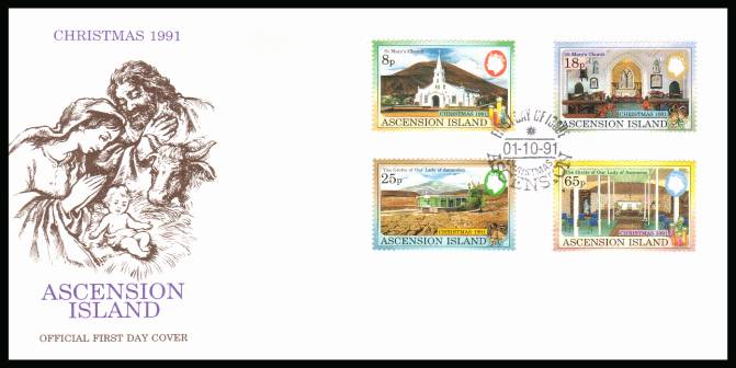 Christmas - Ascension Churches  set of four on an unaddressed Official First Day Cover