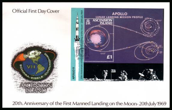 20th Anniversary of First Manned Landing on the Moon minisheet