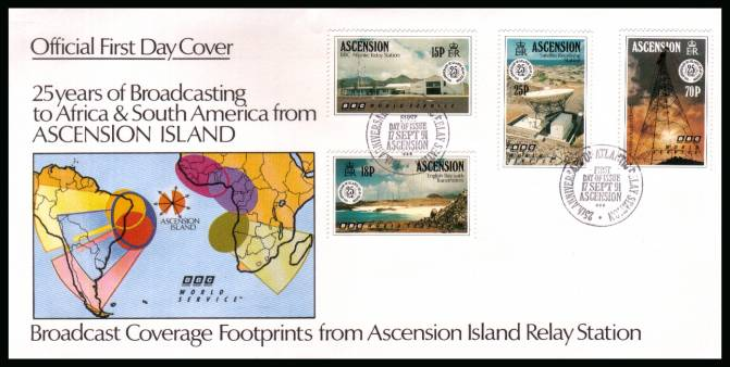 25th Anniversary of BBC Atlantic Relay Station set of four on an unaddressed Official First Day Cover