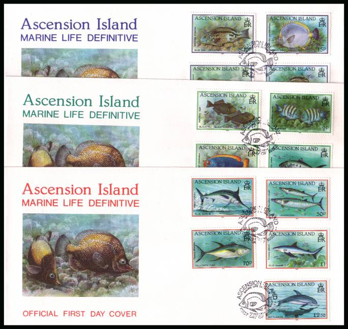Fish set of fifteen on three Official colour First Day Covers dated 10 DEC 1991