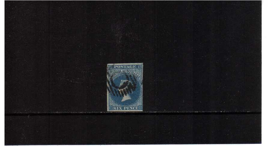 SOUTH AUSTRALIA - 6d Slate-Blue superb fine used with four margins, just clear of SE corner. SG Cat £175