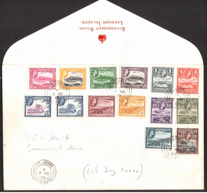 The 1953 complete set of fourteen on an embossed in Red ''GOVERNMENT HOUSE - LEEWARD ISLANDS'' envelope cancelled with a St Johns - Antigua double ring CDS dated 2 NO 53. Note the 絚 Brown was issued later in 1956.