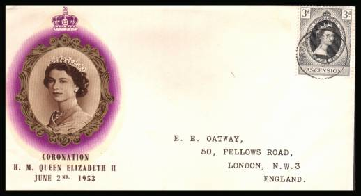 The 1953 Coronation single<br/>on colour illustrated First Day Cover.<br/>Note cover is printed on cream paper which due<br/>to scanning limitations can appear to be  toned!