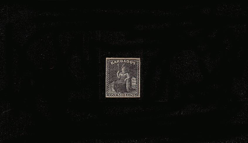 1/- Black - No Watermark - Imperforate<br/>