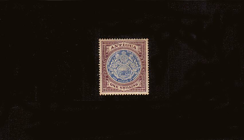 1/- Blue and Dull Purple - Watermark Multiple Crown CA<br/>