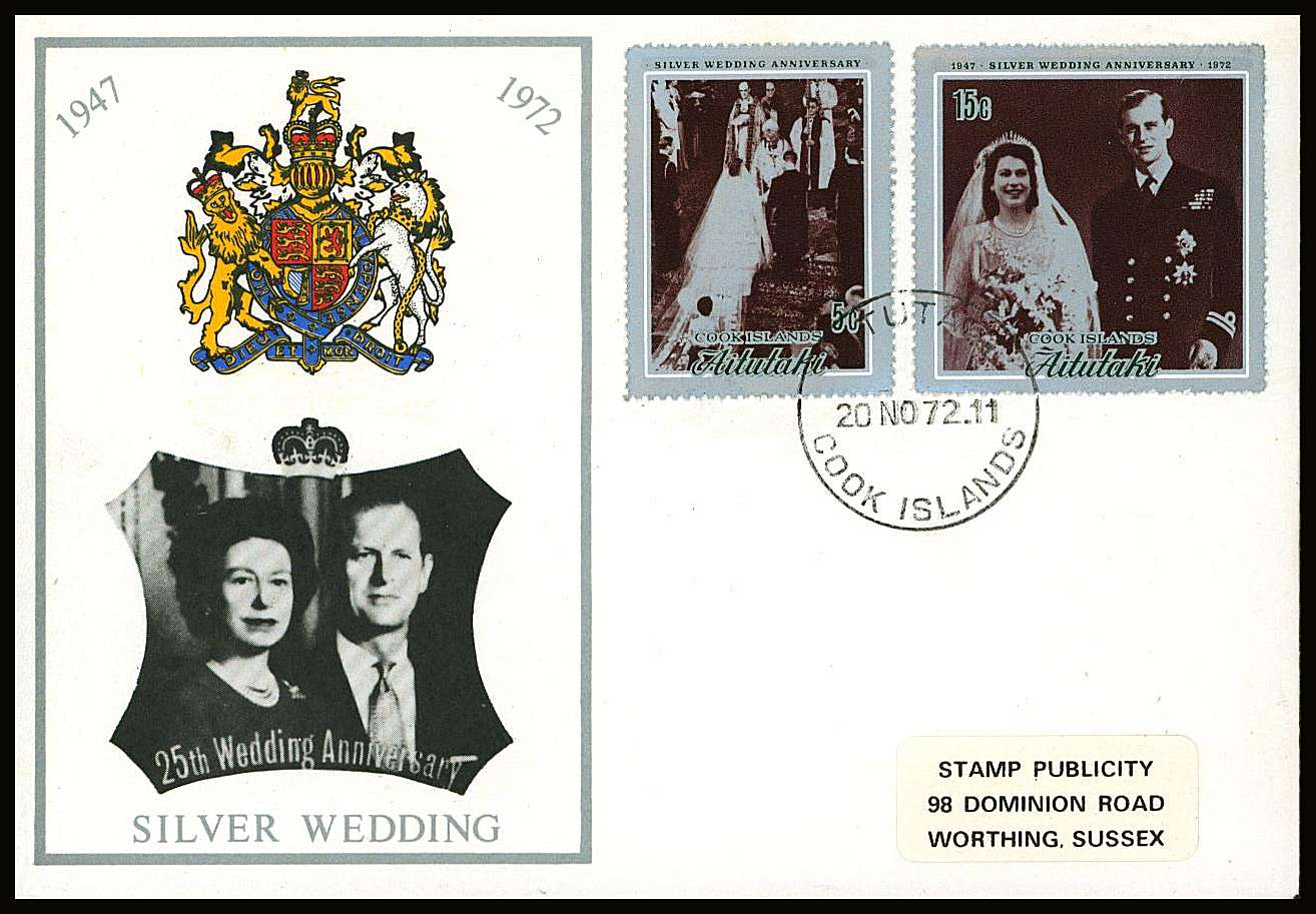 Royal Silver Wedding set of two on a small neat colour First Day Cover.