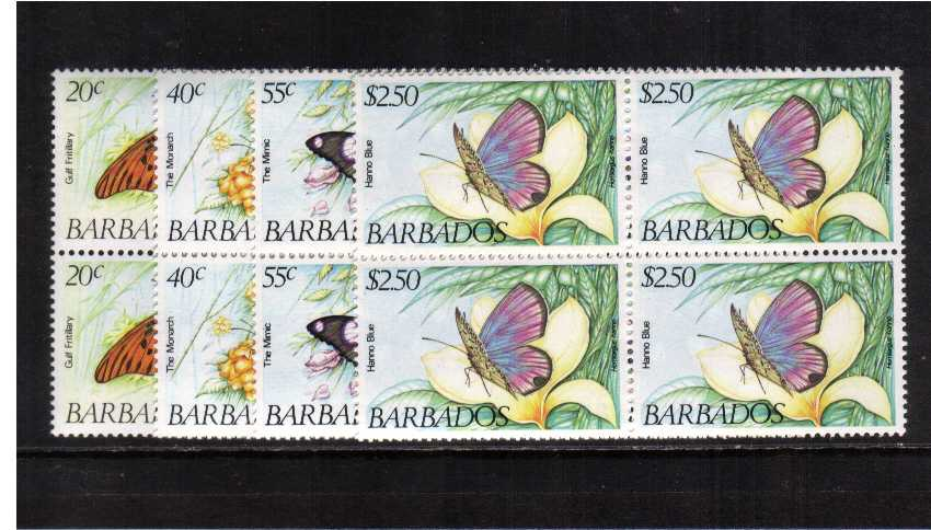 Butterflies set on four in superb unmounted mint blocks iof four