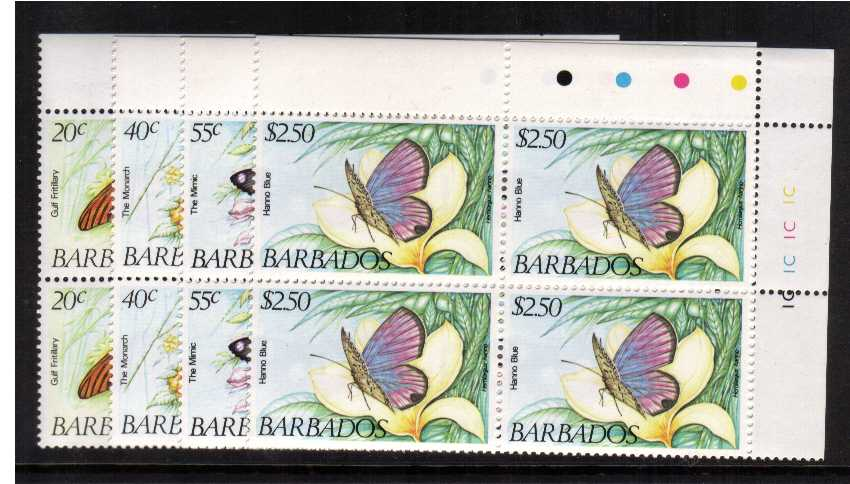 Butterflies set on four in superb unmounted mint CYLINDER blocks of four